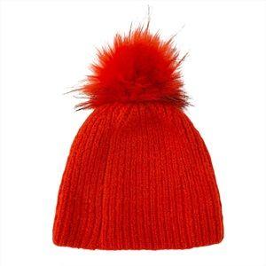 Topshop Red Faux Fur Pom Beanie